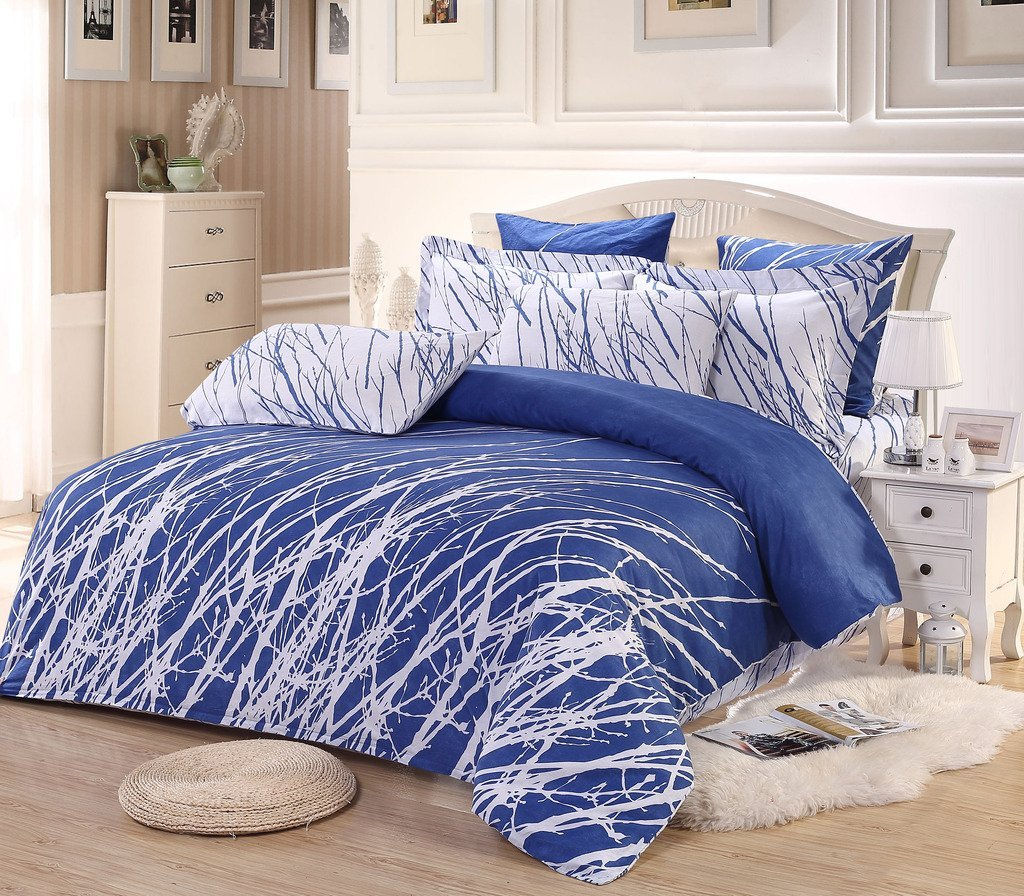 Blue and White bed Cover