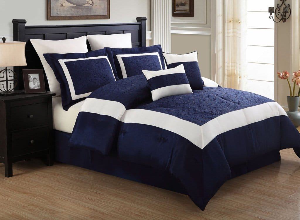 blue white comforter set