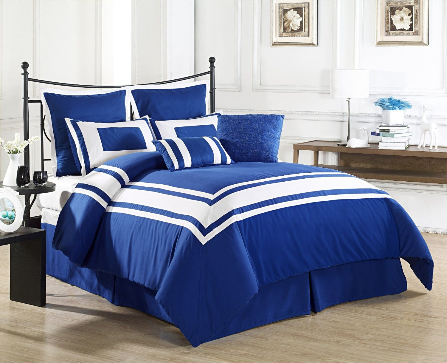 blue white bedding