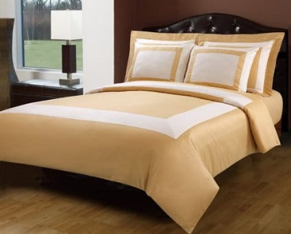 gold and white bedding